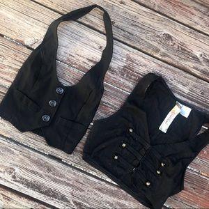 Tops - Black Cropped Vests(Set of 2)